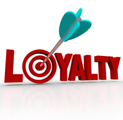 Loyalty Arrow in 3D Word Customer Reputation