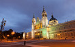 Almudena cathedral in evening. Madrid, Spain