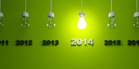 2014 New Year sign with light bulb