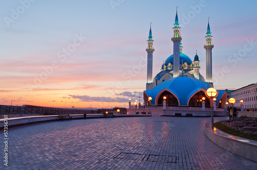 Kul Sharif mosque in Kazan Kremlin at sunset. Russia.