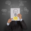 businessman hand show book with blank sticky note and lightbulb
