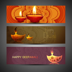 Beautiful set of three diwali headers colorful vector