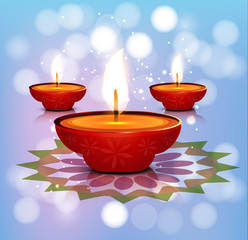 Beautiful illustration diya colorful happy and safe Diwali desig