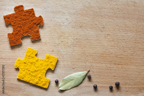 Food ingredients spices and puzzle diet background concept