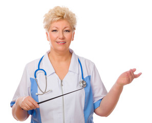 Mature doctor with pointer stick