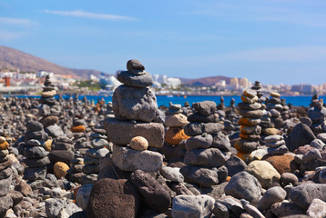Stack of stones on beach