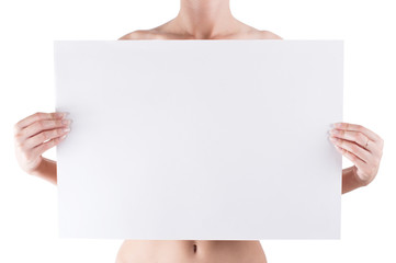 naked woman holding empty white blank board