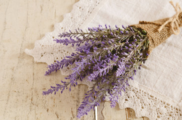 Bunch of lavender on vintage lace doily