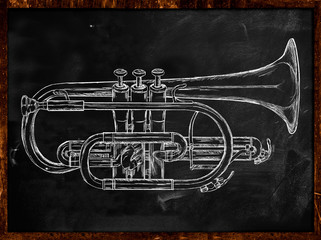 Trumpet sketch on blackboard