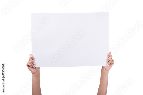 Woman's Hands holding empty white blank board
