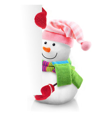 Snowman wearing green scarf and red gloves holding banner blank.