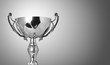 close up champion silver trophy on grey background