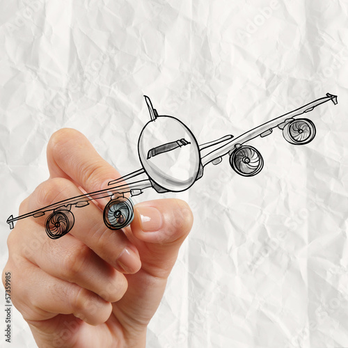hand drawing airplane with crumpled paper background