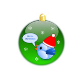 Blue bird isolated on green christmas ball with snowflakes