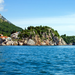 Seaside in Budva, Montenegro and Island of Saint Stephen