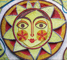Mosaic icon of sun, Bender, Transnistria.