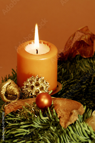 canvas print picture Adventskranz mit Kerze