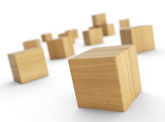 Verteilte Holzklötze isoliert 5