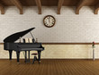 Grand piano in a empty room