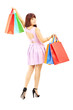 Full length portrait of an attractive female with shopping bags