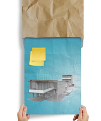 hand show sticky note modern house crumpled paper from recycle e