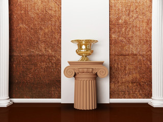 the columns and a vase