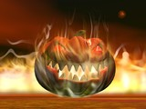 Halloween pumpkin in fire - 3D render
