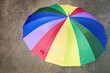 Top view of a multicolored umbrella outdoors
