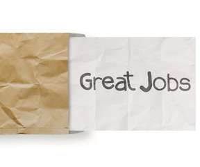 great jobs on crumpled paper with recycle envelope background