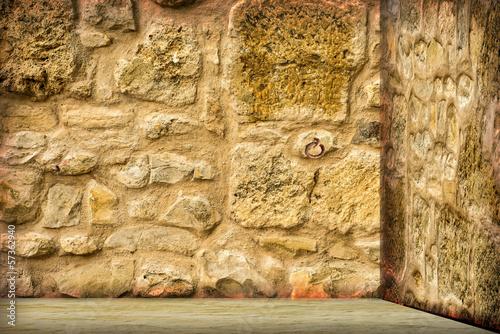 Mittelalterlicher Kerker mit Blick auf Blumenweise