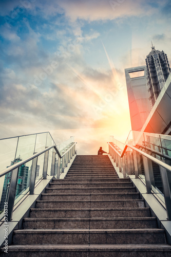 urban outdoor stairs in sunset