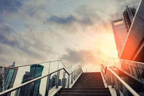 Fotobehang Trappen urban outdoor stairs in sunset