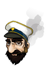 captains portrait with smoke from pipe