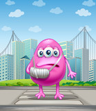 An injured pink monster crossing the street