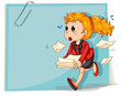 A woman running while carrying some documents