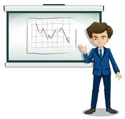 A businessman explaining the graph in the bulletin board