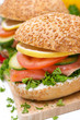 burger with smoked salmon and vegetables, close-up