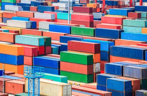 Aluminium sshipping container yard closeup