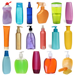 17 colored plastic bottles with liquid soap and shower gel