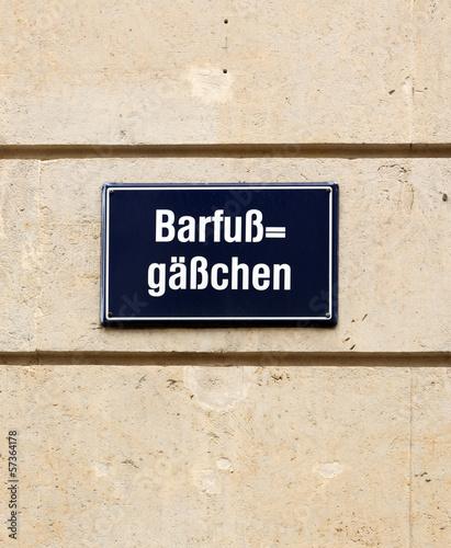 Strassenschild Barfußgässchen Leipzig