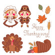 Set of elements for design on Thanksgiving Day