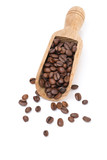 scoop with coffee beans, isolated on white
