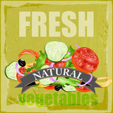 Fresh vegetables.Vector poster background