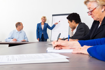 Entrepreneur Giving Presentation In Conference Room