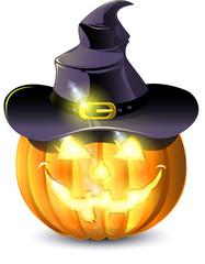 pumpkin with burning eyes