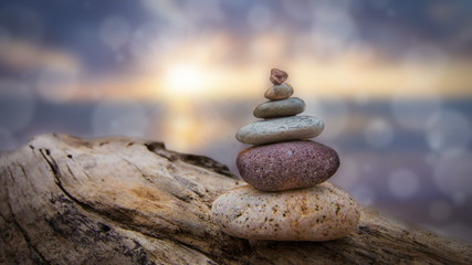 Zen Stones with animated bokeh dot background