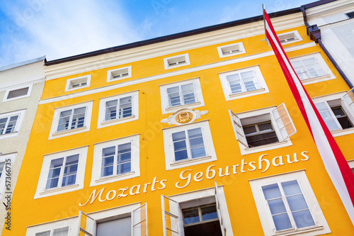 Birthplace of Wolfgang Amadeus Mozart in Salzburg, Austria