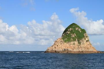 volcanic rock island and Sai Kung bay, Hong Kong