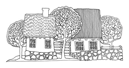 Cartoon house, hand drawn