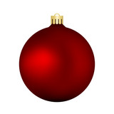 Christmas red vector bauble isolated on white